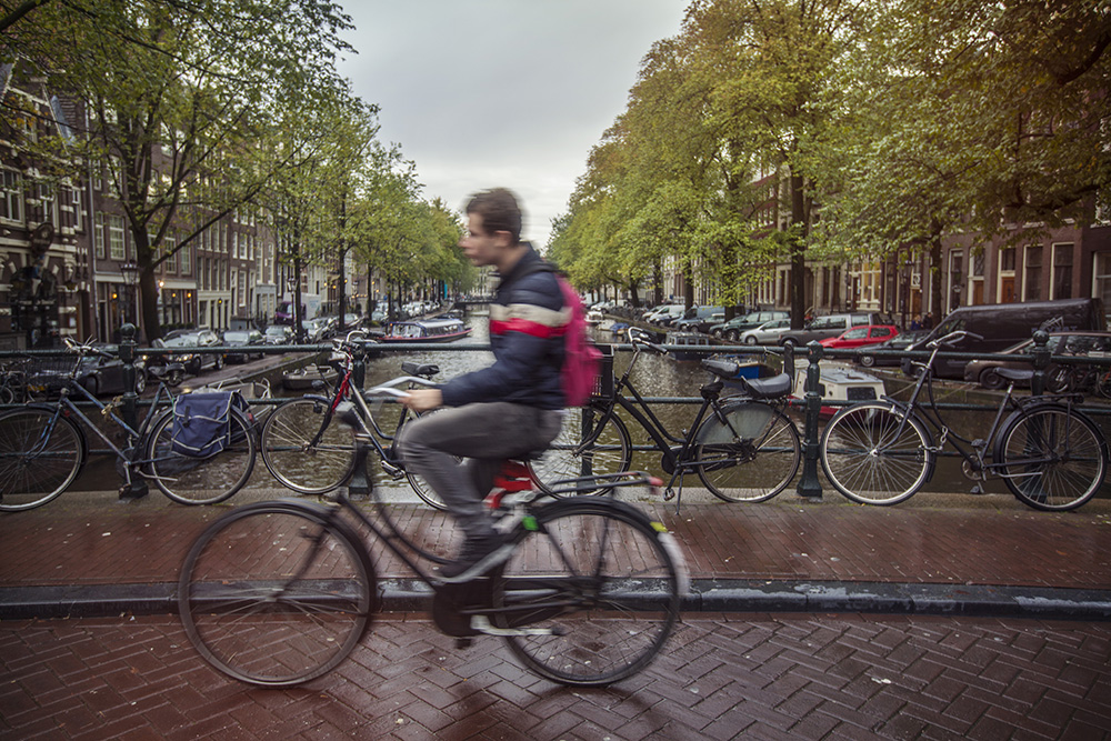 Amsterdam is famous for its cycling infrastructure.