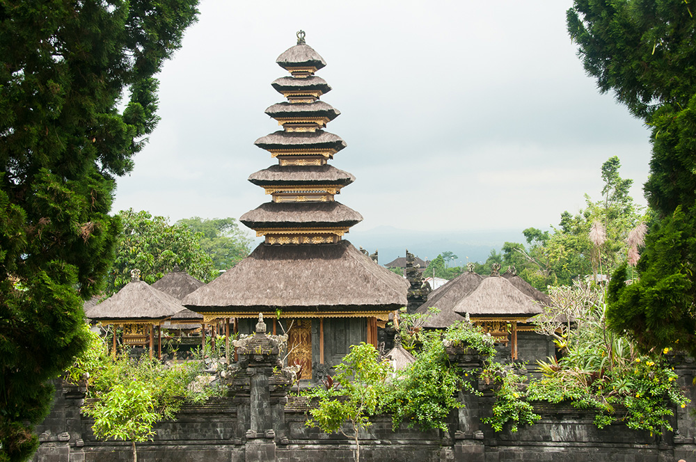 View of Besakih Pura pavilions through the trees.
