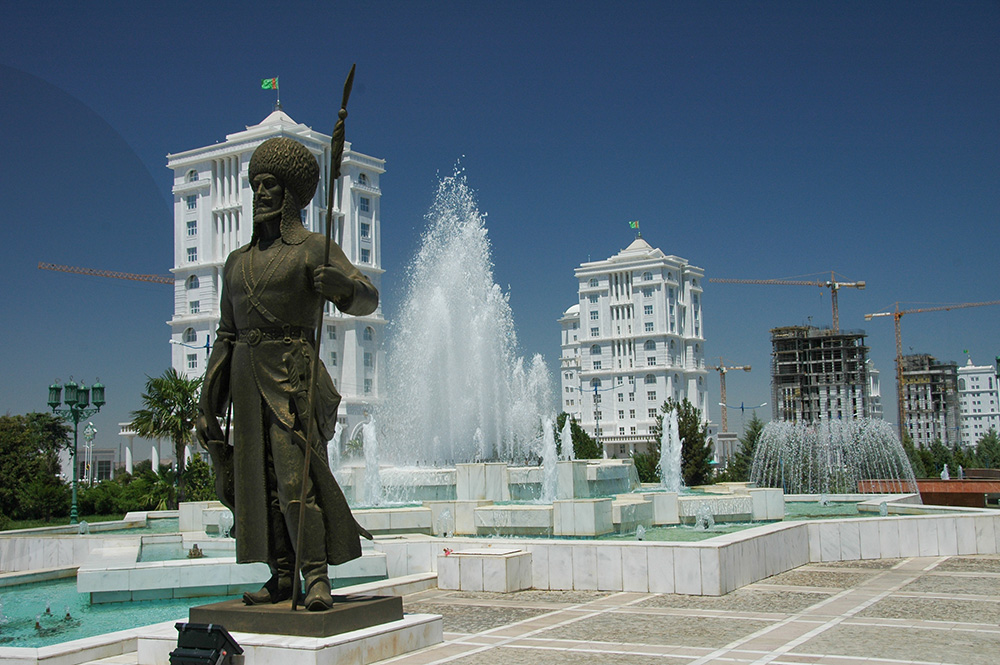 The glistening marble capital city of Ashgabat.