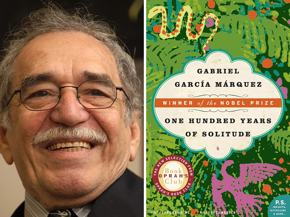 Gabriel Garcia Marquez's One Hundred Years of Solitude is celebrating its 50th anniversary this year. Photos courtesy of Wikipedia Commons/Amazon.