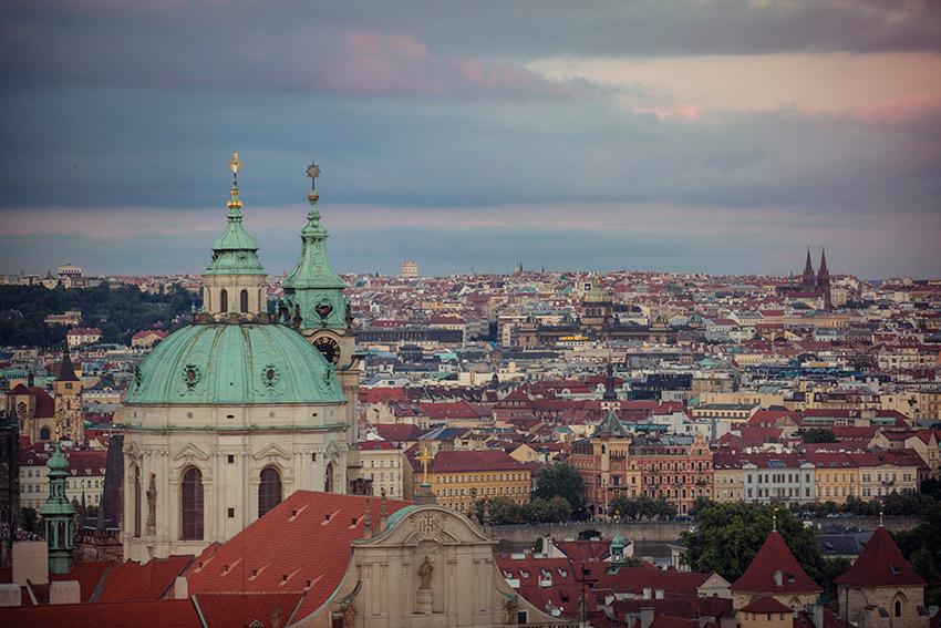 View of St. Nicholas Church in Prague's Mala Strana quarter.
