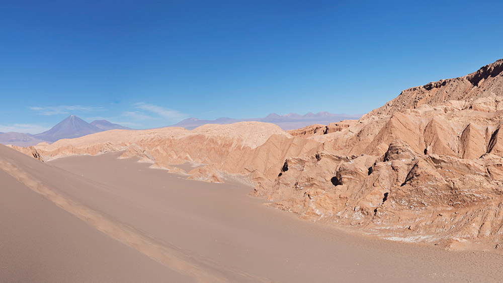 The Atacama Desert lies along the base of the Andes mountain range.