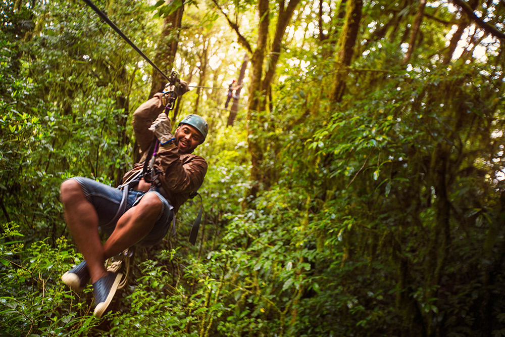 Get the birds-eye view by way of a zip line.