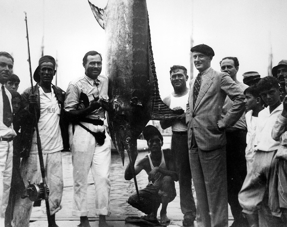 Hemingway in Havana harbour after catching a marlin. Photo courtesy Wiki.