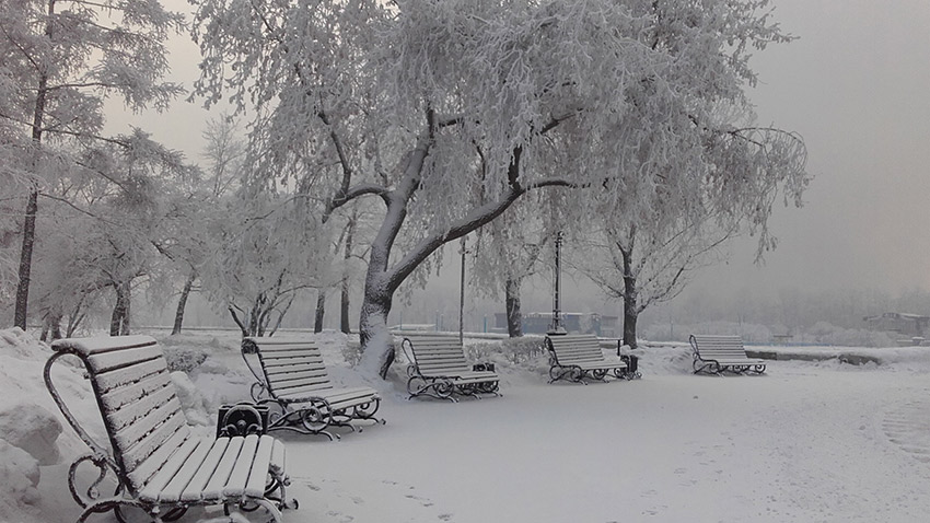 A blanket of snow at a city park in Irkutsk. Photo courtesy Svetlana S.