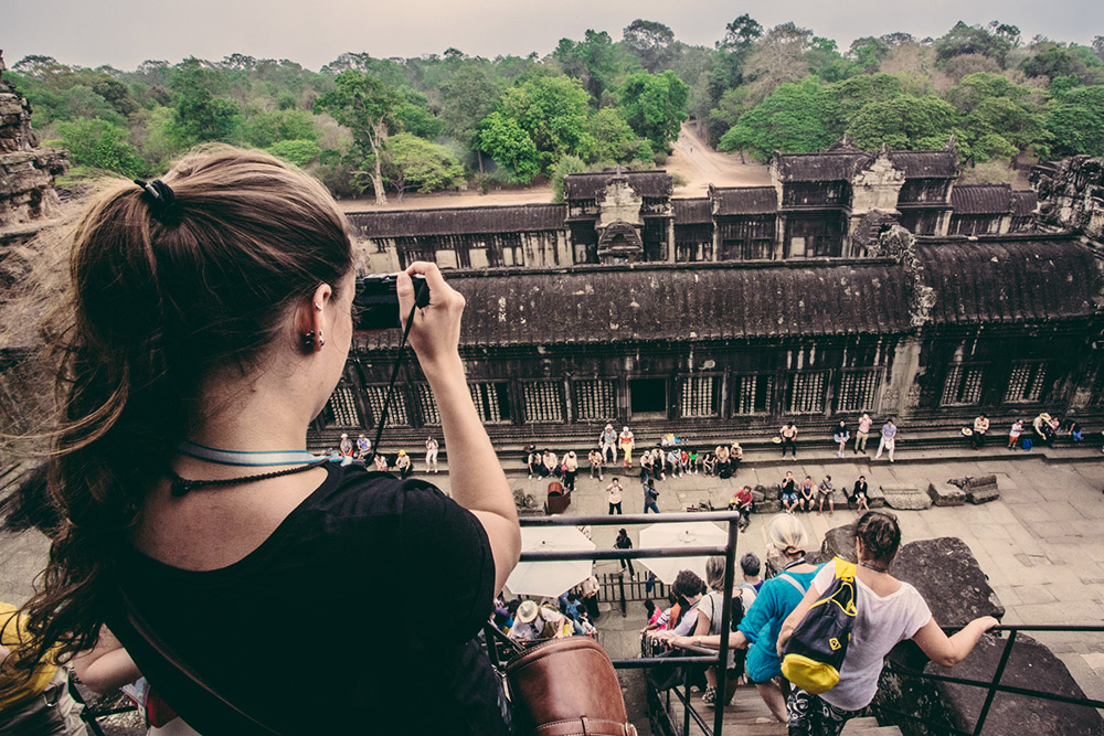 Visiting Angkor Wat is a must when in Cambodia. Get there early, before the heat of the day.