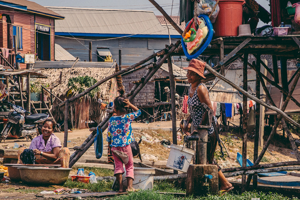 The fishing villages on Tonle Sap Lake wait for the rainy season. With no water, there is no rice production or fishing.