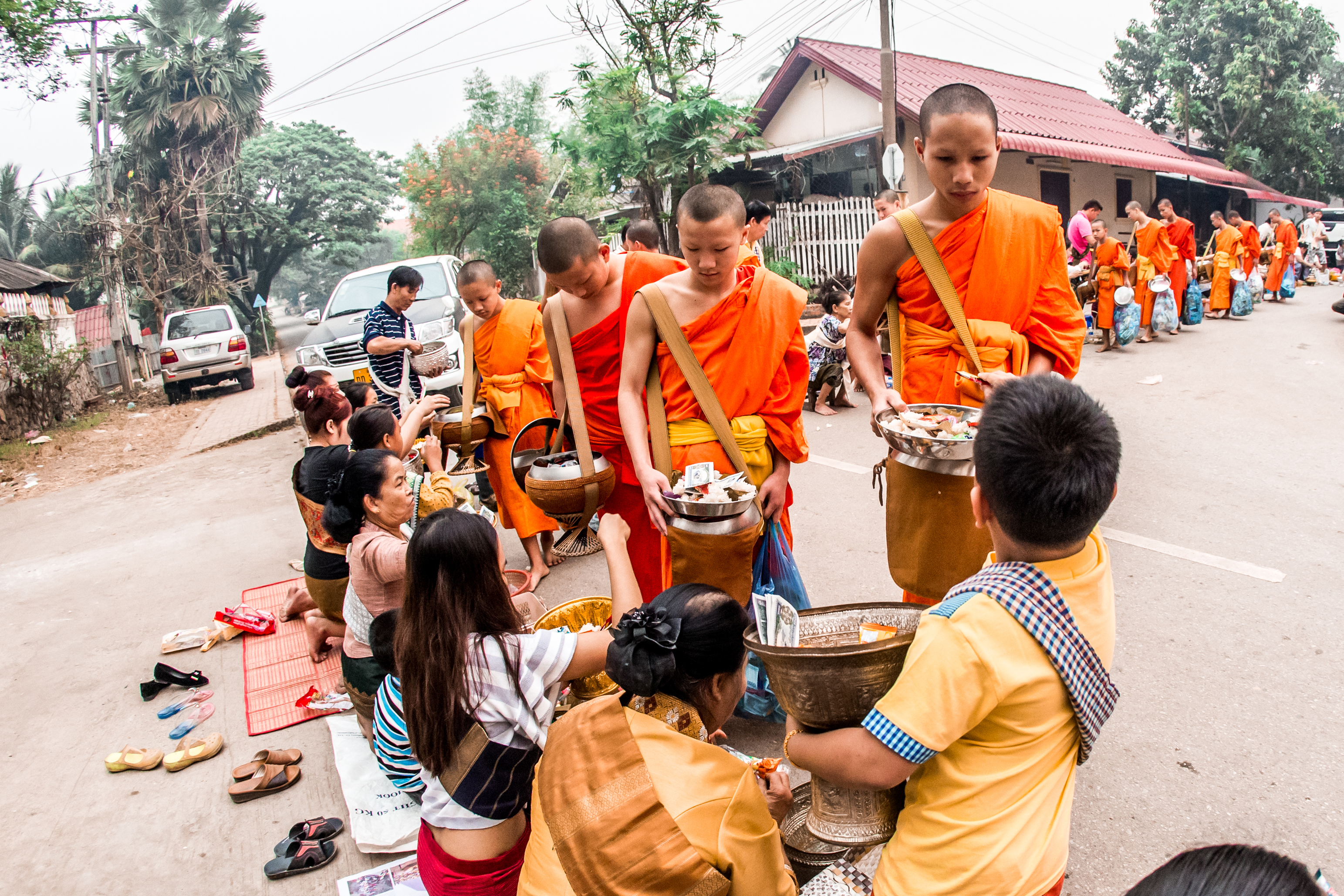 Monks at a morning gathering during the Songkran festival.