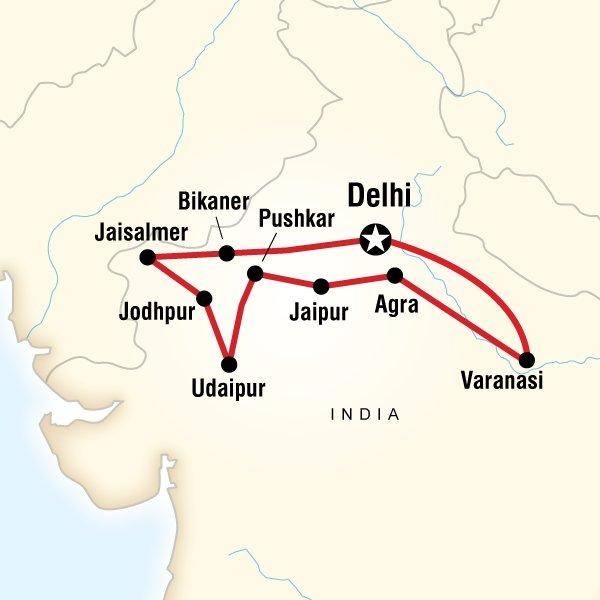 Серверна Индия, маршрут